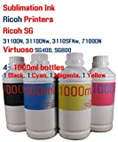 Sublimation Ink 4 color 1000ml bottles- Ricoh SG 3110DN 3110DNw 3110SFNw 7100DN Virtuoso SG400 SG800
