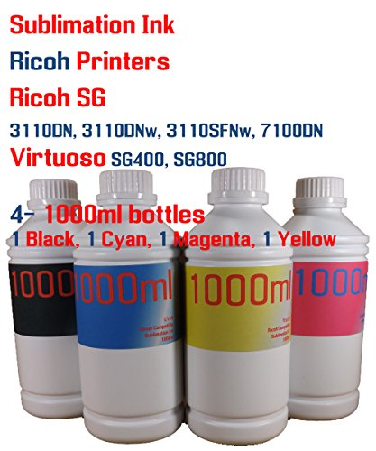 Sublimation Ink 4 color 1000ml bottles- Ricoh SG 3110DN 3110DNw 3110SFNw 7100DN Virtuoso SG400 SG800 by Try The Ink