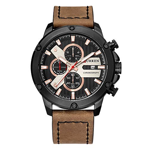 CRRJU 3-Sub Dial Men Business Sport Military Calendar Wrist Watches with Leather Black Belt (Rose)