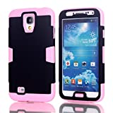 Galaxy S4 Case, LUOLNH 3-piece 3 in 1 Combo Hybrid Defender High Impact Body Armor Hard PC & silicone Case Protective Cover for Samsung Galaxy S4(Black/baby Pink)