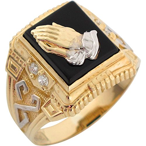 Jewelry Liquidation 14k Two Tone Gold Onyx Religious Praying Hands Mens Ring