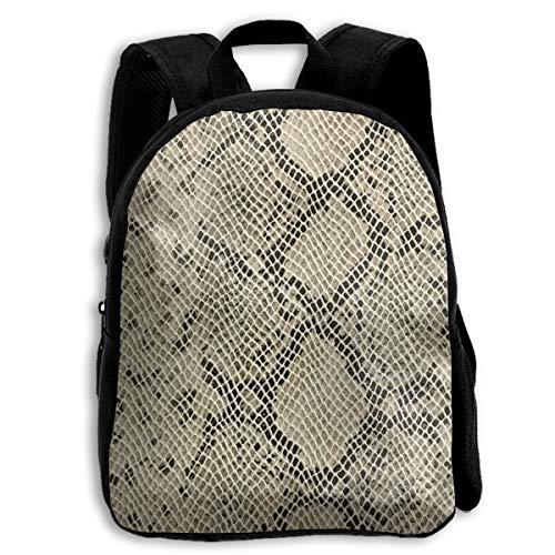Liumong Rice White Black Snake Skin Children Multi-Function Mini Casual Outdoor Travel Book Middle School Backpack 13 Laptop Computer Bag Pocket -
