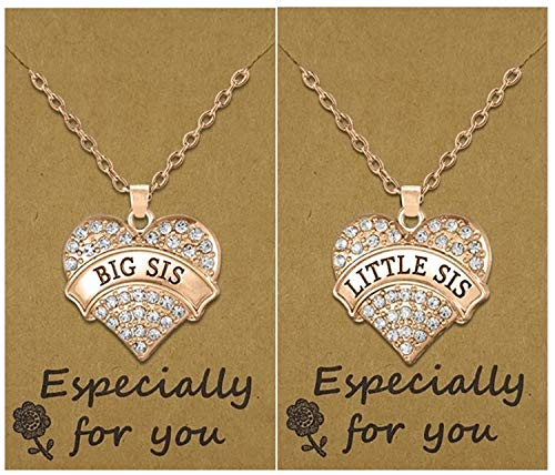 Easter Basket Gift Idea for Girls and Teens, Big Sis & Lil Sis Heart Necklace Set, 2 Sister Necklaces, Big & Little Sisters Best Friends Jewelry gifts, Birthday Presents for -
