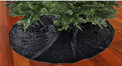 shinybeauty christmas tree skirt black48inch round sparkly sequin tree skirt black
