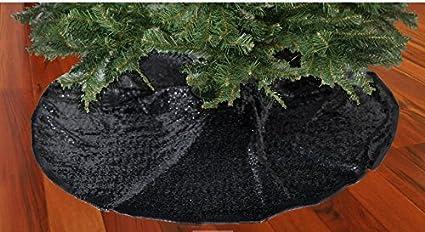 shinybeauty christmas tree skirt black48inch round sparkly sequin tree skirt black - Black Christmas Tree Skirt