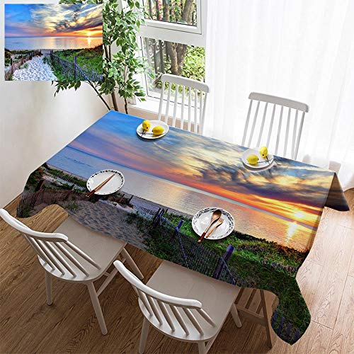 BEISICC Stylish Minimalist Linen Tablecloth,Washable, Path with Beach Fence on Cape Cod Decorating Restaurant - Kitchen School Coffee Shop Rectangular 54×35in