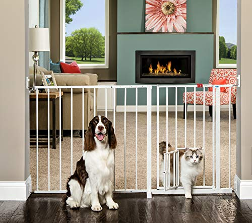 Carlson Maxi Walk Through Pet Gate, 50-59 Inches Wide, Hardware Mounted (Carlson Extra Wide Gate With Small Pet Door)