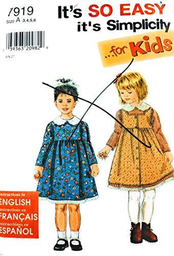 - Girls Dress Pinafore Simplicity 7919 Sewing Pattern Size 3 - 4 - 5 - 6