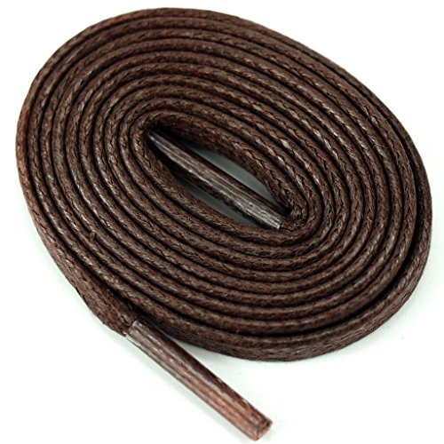 """YFINE 2 Pair 6/25""""6mm Cotton Flat Waxed Shoelaces Coffee for Dress Shoes Leather Boots 55.12"""""""