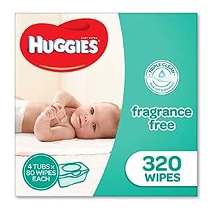 Huggies Fragrance Free Baby Wipes Tubs (Pack of 320), Packaging may vary