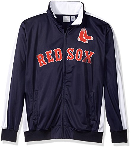 MLB Boston Red Sox Men's Big & Tall Track Jacket, 6X, Navy/White (Sox Red Boston Jacket Red)