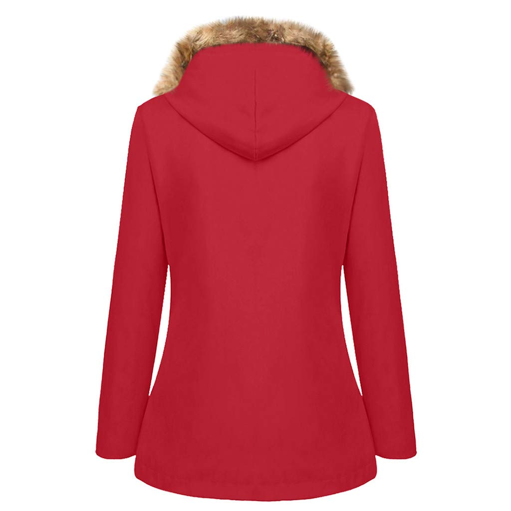 Oasisocean Rain Coats for Women Warm WinterWaterproof Long Hooded Trench Coats Fleece Lined Windbreaker Travel Jacket