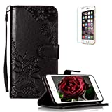Funyye PU Leather Wallet Case for iPhone 6 Plus/6S Plus Free HD Protector,Premium Lace Flower Pattern Magnetic Flip with Cash Pouch Card Slot Design Cover for iPhone 6 Plus/6S Plus,Black