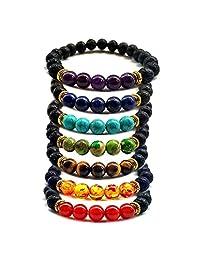 Lava Rock Stone 7 Chakra Beads Elastic Bracelet Healing Energy Mala Meditation Essential Oil Diffuser Bracelet
