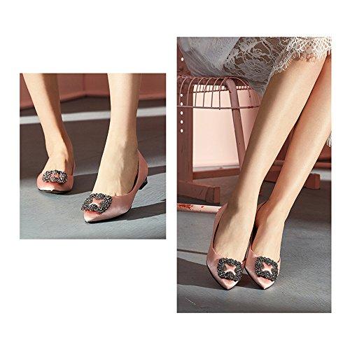Pink Schuhe Strass Flache Farbe Retro Weibliche Schuhe 5 EU37 5 Schuhe Gemütlich größe Sommer Schaufel Flache Uk4 Hochzeit Sandalen Ziemlich Pink YQQ Wild Brautschuhe Schuhe 6qIIFU