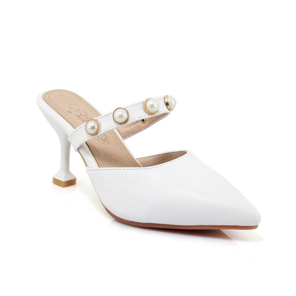 Damen Damen Damen Sandalen Spitzen Flachen Mund Fein mit Mode Wild Flip Flop Weiß 36 ca1f31