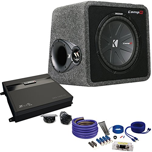 Kicker40vcwr122 Comp R Subwoofer Box, MB Quart ZA2-1000.1D 1000 Watt Mono Amp, Amp wire Kit