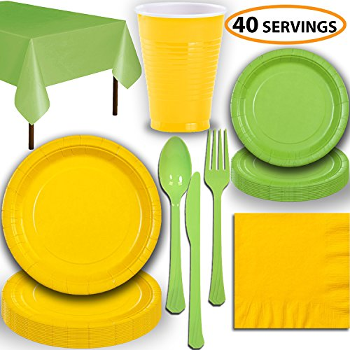 - Disposable Party Supplies, Serves 40 - Yellow and Lime Green - Large and Small Paper Plates, 12 oz Plastic Cups, Heavyweight Cutlery, Napkins, and Tablecloths. Full Two-Tone Tableware Set