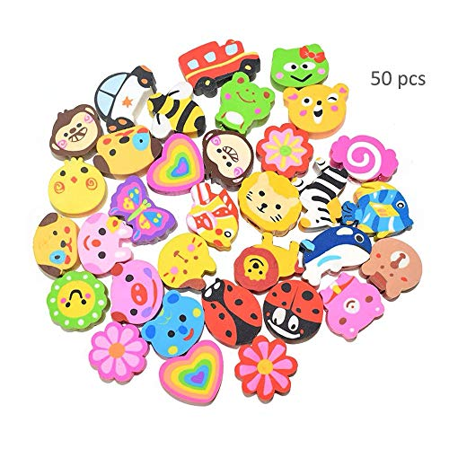 - TangTanger 50 Pack Assorted Cartoon Animal Erasers Pencil Toppers kit Pencil Top Erasers, Gift/Award to Kids