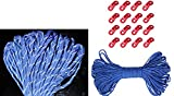 Sparik Enjoy 4 MM Blue Reflective Cord 100 Feet Long Tent Guyline Rope with 16 pcs Aluminum Guyline Cord Adjuster and Pouch For Camping (Blue)