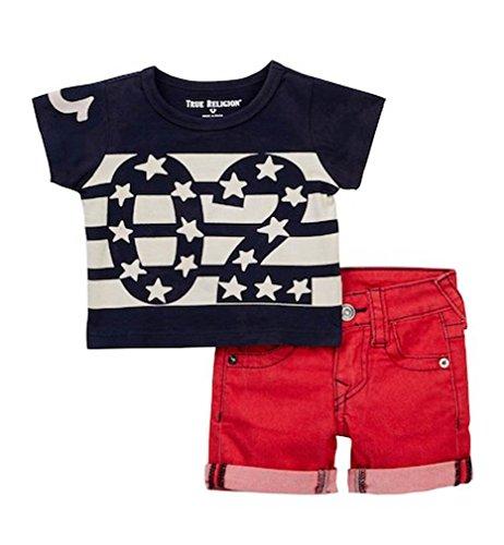 True Religion Baby Boy's Stars and Stripes Tee & Denim Shorts Set Indigo (9 Months)