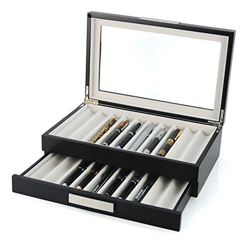 20 Pen Wood Display Case Holder Storage Collector Organizer Box ()