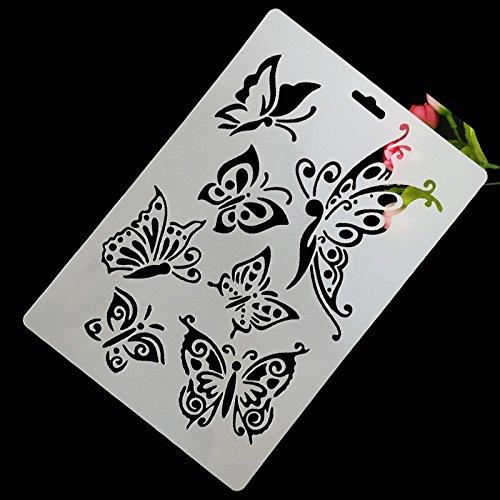 milpo Stencil farfalla cava DIY Solette di disegno di fai da te cava righello di farfalla
