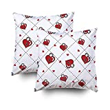 ROOLAYS Decorative Throw Square Pillow Case Cover 16X16Inch,Cotton Cushion Covers heart pattern heart love pattern Both Sides Printing Invisible Zipper Home Sofa Decor Sets 2 PCS Pillowcase