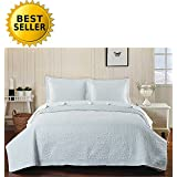 Elegant Comfort 2-Piece Bedspread Coverlet Quilt Set with Shams Full/Queen, White