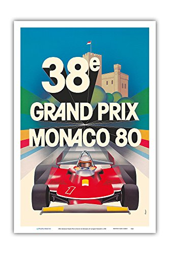 Formula Racer 1 - Pacifica Island Art 38th Monaco Grand Prix (Circuit de Monaco) - Formula One Race Cars - Racer Jody Scheckter - Vintage Car Racing Poster by Jacques Grognet c.1980 - Master Art Print - 12in x 18in