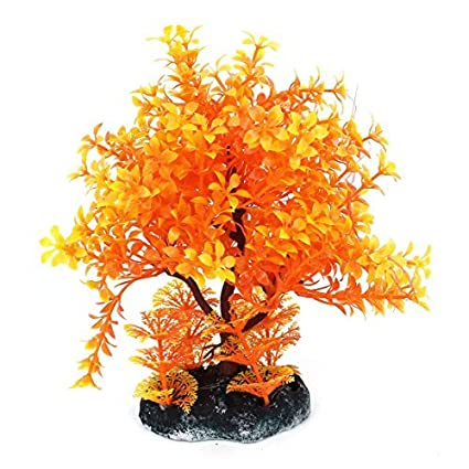 Amazon.com : eDealMax Planta de acuario de plástico Fishbow Artificial Hierba acuática decoración 18cm Naranja : Pet Supplies