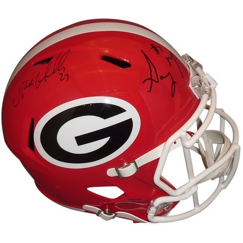 Nick Chubb And Sony Michel Autographed Georgia Bulldogs Deluxe Full-Size Replica Helmet Bulldogs Deluxe Replica Helmet