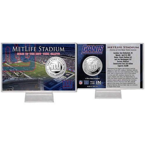 Football Fanatics NFL New York Giants MetLife Stadium Silver Coin Card ()