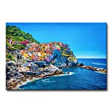 My Easy Art® Modern Canvas Painting Wall Art The Picture For Home Decoration Cityscape Traditional Port Mediterranean Sea Cinque Terre Italy Coast Landscape Print On Canvas Giclee Artwork For Wall Decor