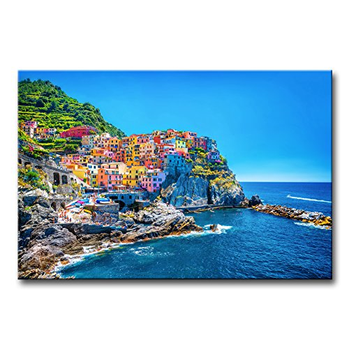 Modern Canvas Painting Wall Art The Picture For Home Decoration Cityscape Traditional Port Mediterranean Sea Cinque Terre Italy Coast Landscape Print On Canvas Giclee Artwork For Wall (Mediterranean Decor Pictures)