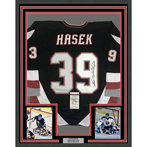 Framed Autographed/Signed Dominik Hasek HOF 14 33x42 Buffalo Black Hockey Jersey JSA COA
