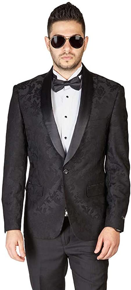 AZAR MAN Slim Fit 1 Button Shawl Lapel Black Satin Collar Floral Tuxedo Dinner Jacket Blazer