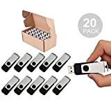 TOPSELL 20PCS 1GB Bulk USB 2.0 Flash Drive Swivel Memory Stick Thumb Drives Pen Drive (1G, 20 Pack, Black)