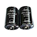 MonkeyJack 2 Piece Aluminum Foil Cylindrical Radial 470µF 450V Electrolytic Capacitor 2-Pin RM10mm