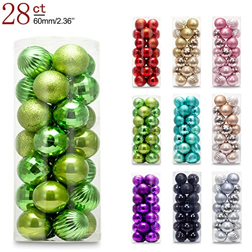 AMS 60mm/2.36 Christmas Ball Plating Ornaments Tree Collection for Holiday Parties Decoration (28ct, Green)