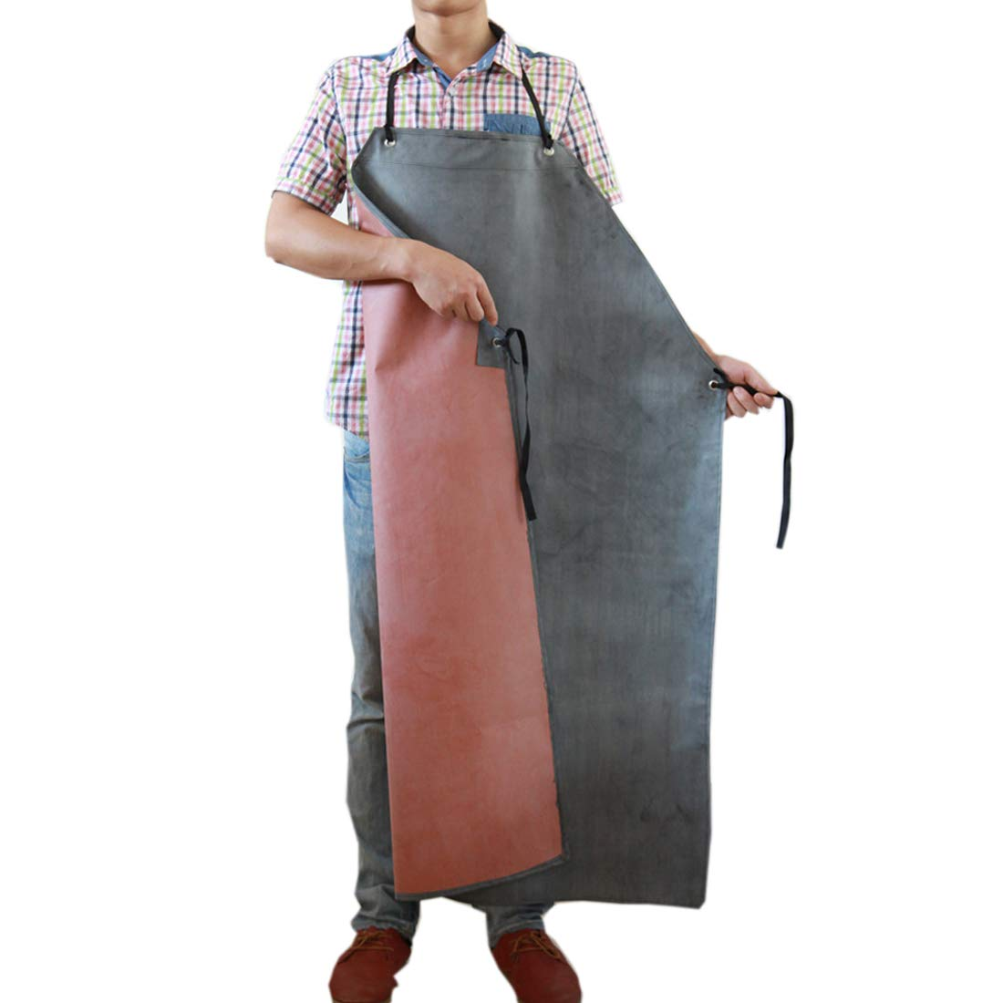 Men's Rubber Waterproof Work Apron Extra Long Oil Resistant for Dishwashing Factory Slaughterhouse