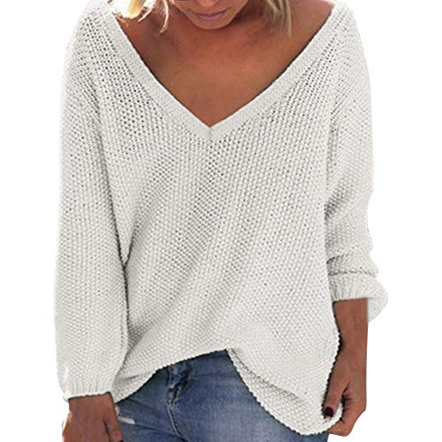 Sunhusing Women's Fall Winter Loose Long Sleeves Deep-V Neck Knitwear Sweater Pullover Blouse White