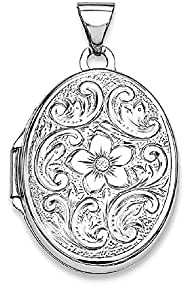 IceCarats 925 Sterling Silver Rhodium Plated Oval Floral Locket Necklace That Holds Pictures