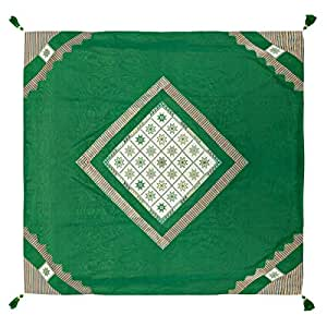 Turathna Cotton Handmade Cross Stitch Charm Table Cover - Grass Green