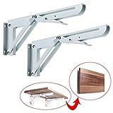 10 inch bracket - Sumnacon Sturdy Folding Shelf Brackets - Heavy Duty White Metal Triangle Table Bench Folding Shelf Bracket 10 Inch, 2 Pcs Folding Shelf Hinge Wall Mounted, Max Load 132lb