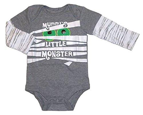 Assorted Witch, Pumpkin, Cat Baby Boys & Girls Halloween Bodysuit Dress Up Outfit (0-3 Months, Grey - Mummy's Little Monster) -