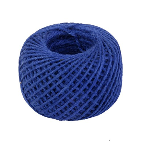 RayLineDo 2mm Jute Twine String 3-Ply 100 Meter Hemp Rope Cord for Tag, Gifts Wrapping, Wedding Decoration, Office, Gardening Projects in Royal Blue (Royal Cord Tag)