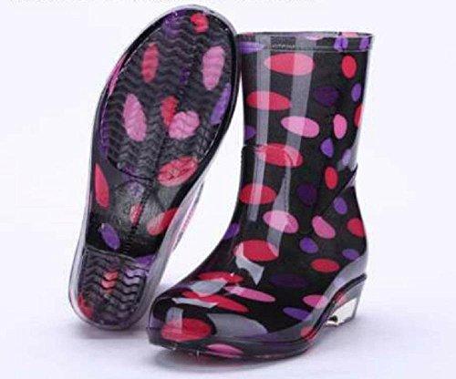 dot red femenino de botas lluvia impermeable AXnxXOq4r