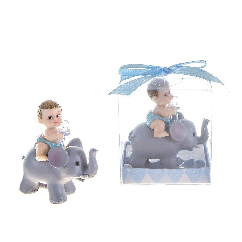 Lunaura Baby Keepsake - Set of 12 ''Boy'' Baby Holding Pacifier Sitting on Elephant Favors - Blue by Lunaura