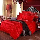 European Style Soft Silk Cotton Satin Jacquard Bedding Set ,Lace Duvet Cover Sets 4 Piece, Queen , eight